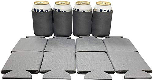 KP KOOL PRODUCTS Blank Beer Can Cooler Sleeves, Plain Bulk Collapsible Soda Cover Coolies, DIY Personalized Sublimation Sleeves for All Kind of Occasions and Parties (Light Gray, 25)