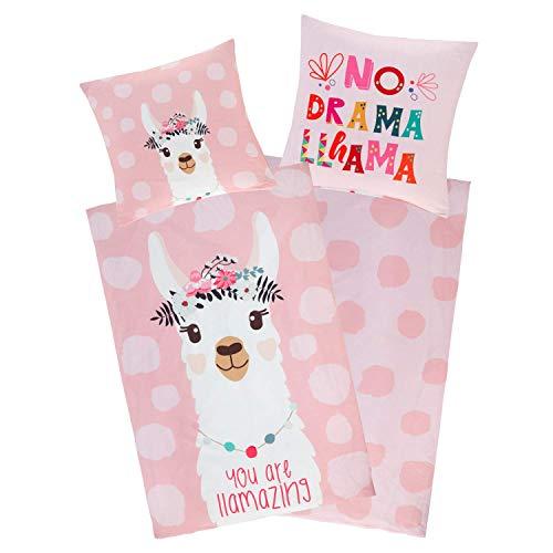 Aminata Kids Bettwäsche 135 x 200 Lama-Motiv Baumwolle Teenager Mädchen rosa - mit YKK Reißverschluss Lama-Alpaka-Motiv Kinder-Wende-Bettwäsche-Set - Geschenk-Idee Spruch