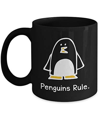 N\A Taza de la Regla de los pingüinos de  Primavera! Divertida Taza de café de cerámica Negra Amantes de los pingüinos