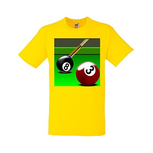 Camiseta de billar de manga corta, diseño con texto en alemán 'Billard' y 'Rack' para practicar deporte, juego de tres aguas, bola negra, verde, para hombre, mujer, niños, 104 – 5 XL amarillo Para Hombre Talla : XX-Large