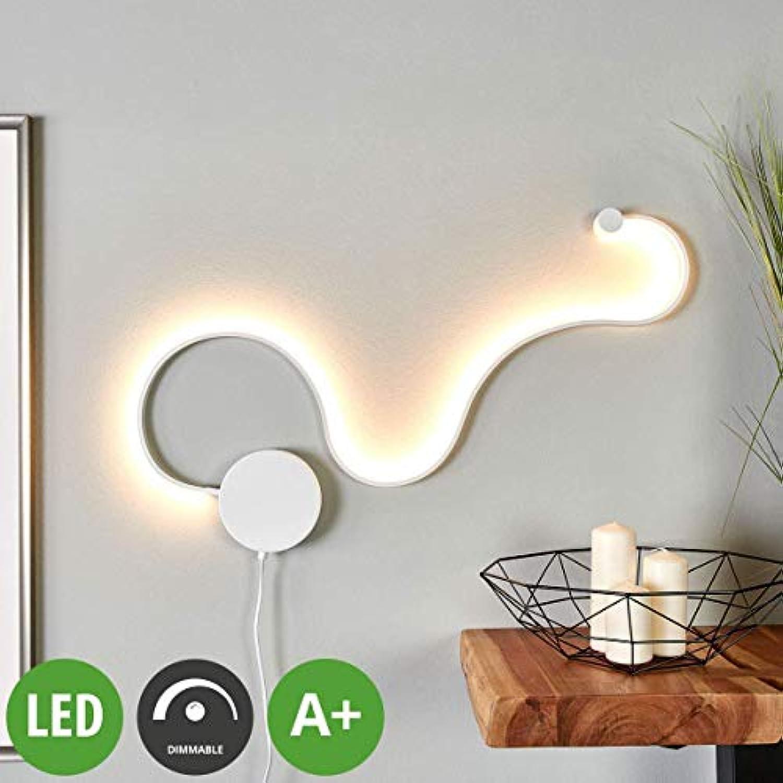Lampenwelt LED Wandleuchte, Wandlampe Innen 'Sandor' dimmbar (Modern) in Wei aus Metall u.a. für Wohnzimmer & Esszimmer (1 flammig, A+, inkl. Leuchtmittel) - Wandstrahler, Wandbeleuchtung