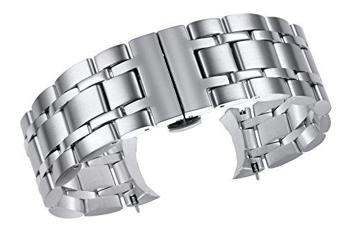 24 millimetri in acciaio inox lusso ampio sostituzione argento metallico...