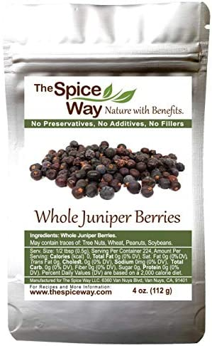 The Spice Way Juniper Berries Whole berries pure no additives Non GMO no preservatives 4 oz product image