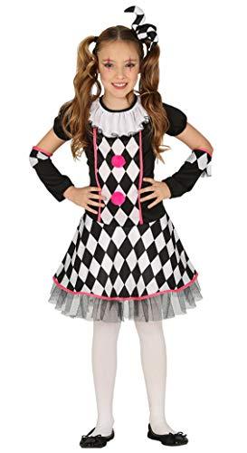Guirca schwarz weiß Kariertes Clown Kostüm für Mädchen - Größe 98-146 - Halloween, Größe:110/116