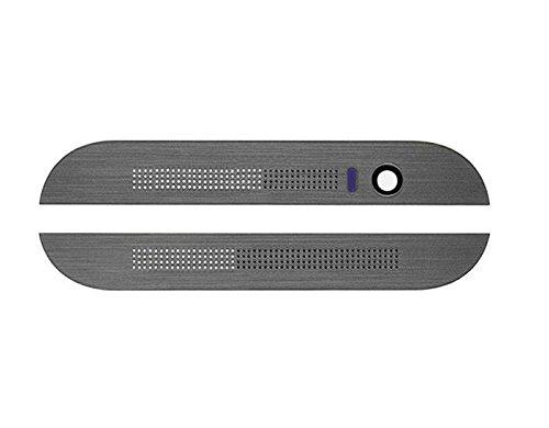 SCHWARZ / GRAU Blende Abdeckungset Voderseite Oben + Unten für HTC One M8 - Front Cover Set inkl. 3M Klebestreifen - Schwarz / Grau