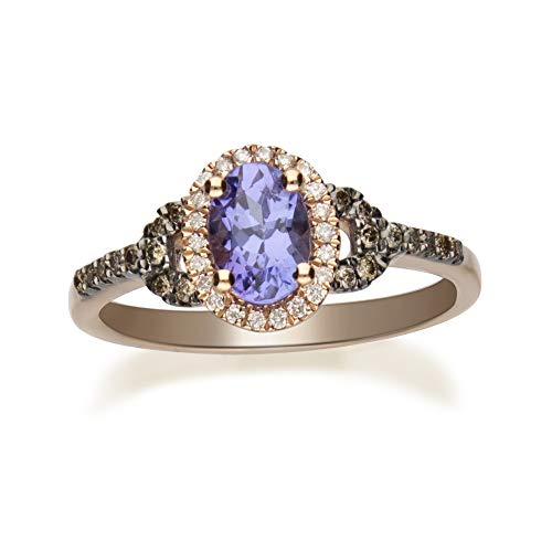 Gin & Grace 10K Rose Gold Blue Natural Tanzanite Diamond (I1,I2) (Size 7) Ring for Women