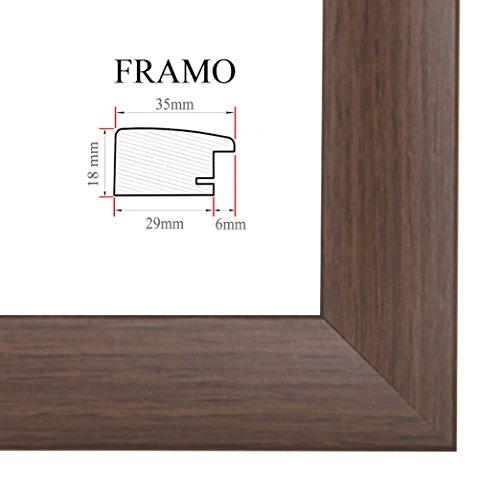 FRAMO 35 Bilderrahmen 59x125 cm, Farbe: Wenge, maßgefertigter MDF-Holz Rahmen mit Anti-Reflex Kunstglasscheibe, Rahmen Breite: 35mm, Außenmaß: 64,8 x 130,8 cm