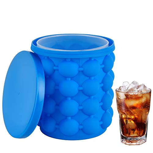 Ice Cube Mold, Reusable Silicone Ice Bucket with Lid, 2 in 1 Portable Ice Cube Maker, Ice Cube Trays for Frozen Whiskey, Cocktail, Beverages, Dishwasher Safe & BPA Free, Blue
