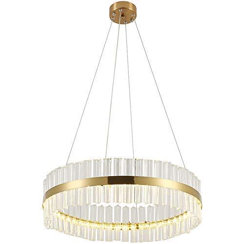 Modern LED Hängeleuchte Runde Kristall Pendelleuchte, Gold Pendelleuchte Kunst Design Kronleuchter Wohnzimmerlampe Luxus Restaurant lampe Verstellbar Schlafzimmer Beleuchtung Warmes Licht