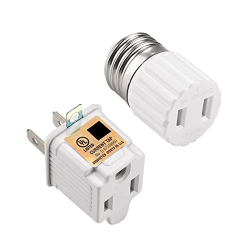 E26 Light Socket Outlet With 2 Prong to 3 Prong Grounding Adapter, Convert E26 Light Socket to Polarized 2 Prong Outlet or 3 Prong Outlet,Easy-to-Install,White