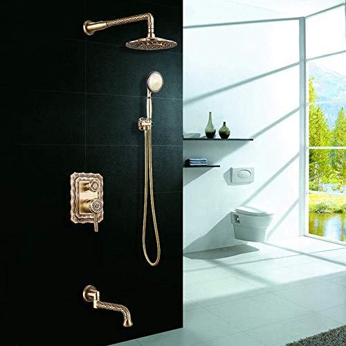 GENFALIN Todo-cobre oculto juego de ducha Into The Wall estilo magnífico Moda cabezal de ducha grifo de bronce verde puede subirse y bajarse Hermosa práctica
