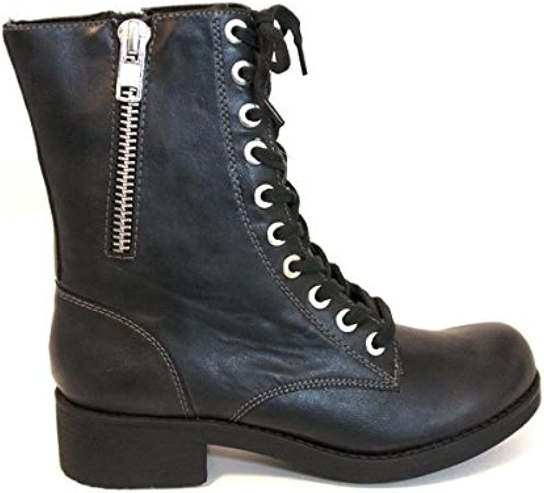 MIA Frederica - Black Lace-Up Combat Boot