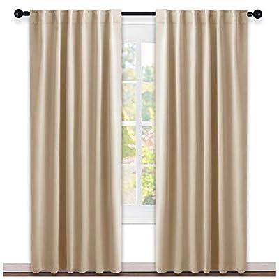 NICETOWN Window Treatment Curtains Room Darkening Draperies - (Biscotti Beige Color) 52 Width X 95 Drop, Room Darkening Blackout Curtains and Drapes for Bedroom
