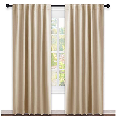 NICETOWN Window Treatment Elegant Curtains - (Biscotti Beige Color) 52 Width X 84 Length, 1 Pair, Curtains and Drapes for Bedroom