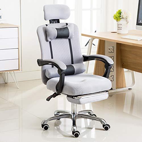 Gaming Chair bureaustoel Reclining High Back ergonomische PU-leer bureaustoel racing computer draaistoel met verstelbare hoofdsteun modern Withfootrest grijs
