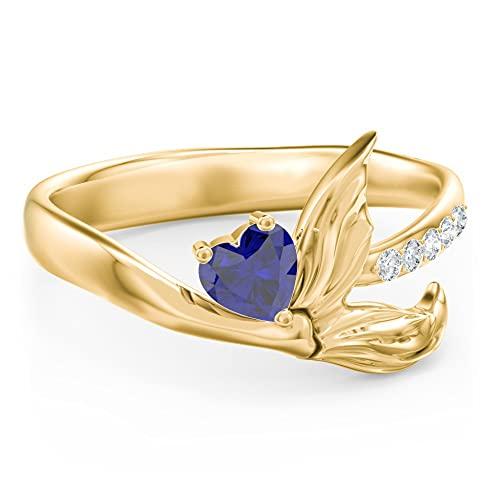 Anillo de compromiso de sirena con diamante de 4 mm en forma de corazón D/VVS1 para mujer en plata 925 chapada en oro amarillo de 14 quilates