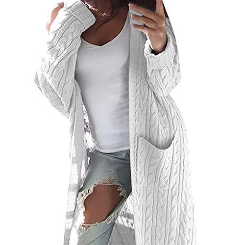 Mujer Damas Invierno Manga Larga Bolsillo Twist Manga Larga Cárdigan Suéter Suéter Chaqueta Casual Suéter de Punto Suelto Chaqueta Top