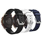 MoKo Band Fit Samsung Galaxy Watch 42mm/Galaxy Watch Active/Active 2/Galaxy Gear S2 Classic/Ticwatch E/2/Vivoactive 3, 3-Pack 20MM Silicone Replacement Sport Strap- Black&White&Midnight Blue