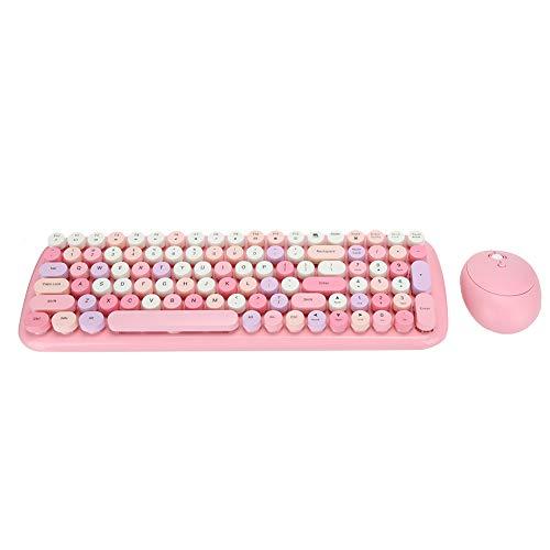 Combo universal de ratón con teclado inalámbrico, 2,4 Ghz para PC, unidad inalámbrica, 100 teclas, teclado retro redondo con tapa, ratón de 4 teclas con receptor USB para PC / teléfono / tableta(Rosa)