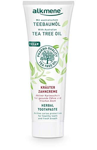 alkmene Kräuter Zahnpasta mit Teebaumöl - vegane Zahncreme für empfindliche Zähne ohne Silikone, Parabene & Mineralöl - Natürliche Toothpaste mit Fluorid (1x 100 ml)