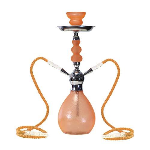 MADGROW. Cachimba Ice. Naranja. Shisha de 45 cm. 2 mangueras. SÚPER Pack: Cazoleta Extra + Tubo de 10 Pastillas de carbón + boquillas XXL + Pinzas/perforador + sartén.
