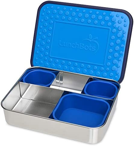 LunchBots Light Cinco Five Section Large Bento Box Silicone Cups Large Stainless Steel Lunch product image