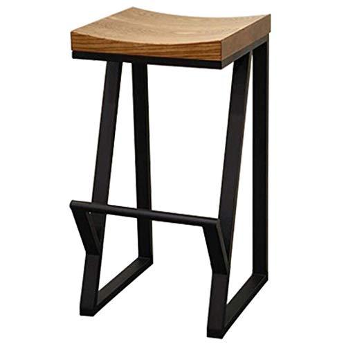 Sillas De Comedor Taburete de barra vintage de madera, asiento de madera maciza con patas de metal audaz con pies antideslizantes, desayuno de hierro forjado, estilo industrial - restaurante / cafeter