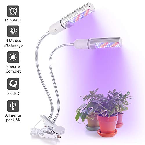 LONGKO 16W LED Wachstumlicht Pflanzenlampe Zimmerpflanzen f/ür mehrere Pflanzen Schreibtischlampe mit Flexibler Schwanenhals und USB 2 Stuftige Knopfe Dimmbar