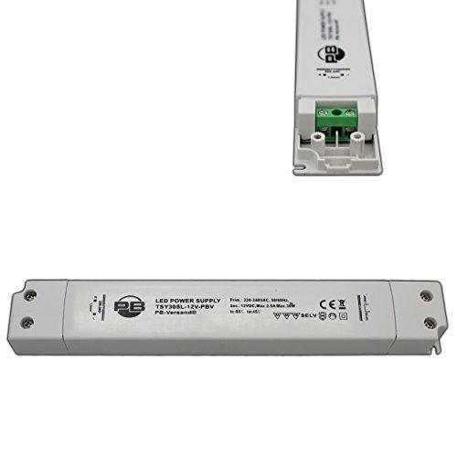 30 Watt LED-lamp transformator 12V DC ultraplat langwerpig (zeer plat design) 1-30 Watt voeding driver transformator MM meubelinbouw - PB-Versand®