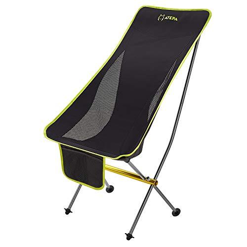 ATEPA Campingstuhl Chair Klappstuhl mit hoher Rückenlehne Kompakt Ultraleicht mit Tragetasche für Camping Wandern Strand Fischen Outdoor Max Hold bis 120 kg