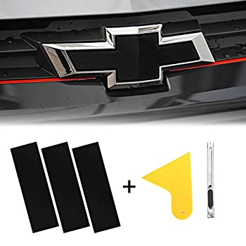 YAMUDA Compatible with DIY 11.8  x 4  Chevy Bowtie Emblem Wrap Logo Kit Sticker with Spatula and Cutter Universal 3Pcs