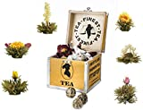 "Caja deco de madera ""Té Floreciente"" de Creano, mix de flores de té en set para regalo con 6 rosas de té (té blanco) en caja noble"