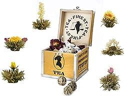 Creano ErblühTee Holz-Dekobox, Teeblumen Mix Geschenkset mit 6 Teerosen (Weißer Tee) in edler Teekiste