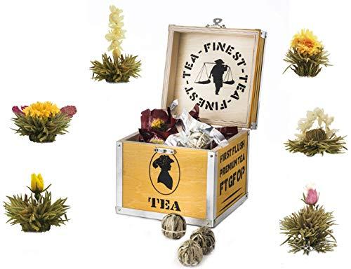 Creano thee bloemen cadeauset in houten theekist, 6 blooming tea in 6 soorten witte thee