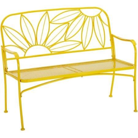 Mainstays Hello Sunny Outdoor Patio Bench, Yellow Powder-Coated Painted Finish (Yellow)