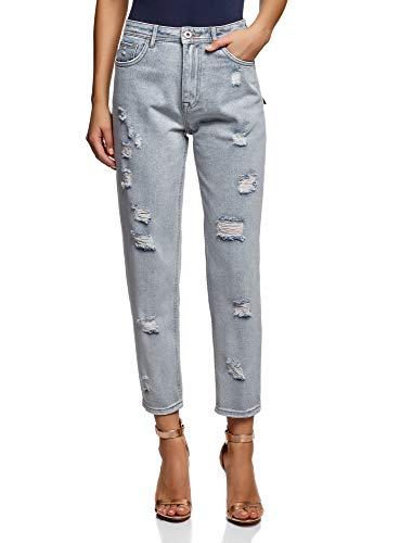 oodji Ultra Donna Jeans Mom Fit a Vita Alta, Blu, 29W / 32L (IT 46 / EU 42 / L)