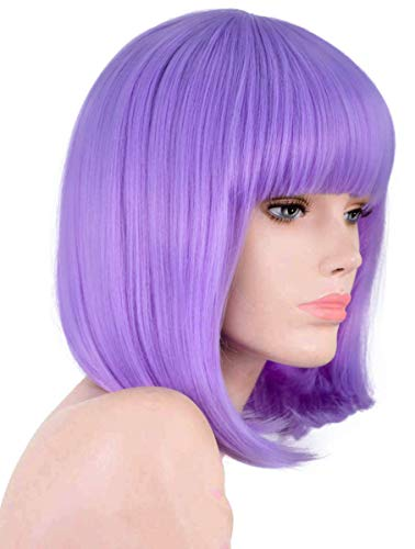 ANNIVIA Lavender Purple Short Bob Wig for Women 12inch Synthetic Straight Wigs with Bangs Halloween Cosplay Party Wig Natural As Real Hair Lavender Purple Wig for Women (Lavender Purple)