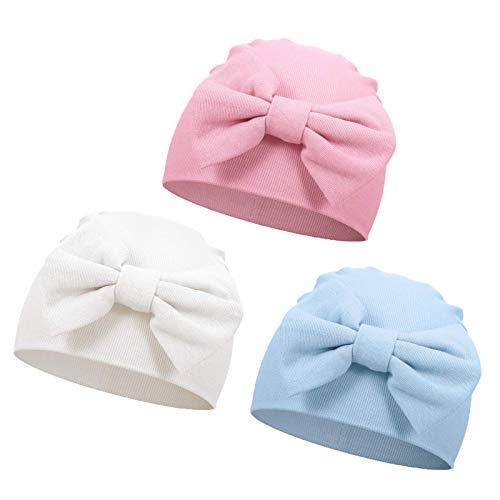 VUCDXOP Neugeborenes Baumwolle Mütze Babymütze Niedlichen Bogen Baumwolle Beanie Hut Unisex Kleinkind Turban Hut für Baby 0-6 Monate, 3er-Pack