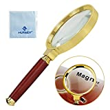 10x Magnifying Glass 80mm Diameter Reading Magnifier, Metal Frame & Wooden Handle Magnifying Lens for Reading Newspaper, Insects, Map, Crossword Puzzle, Engravings, Jewellery