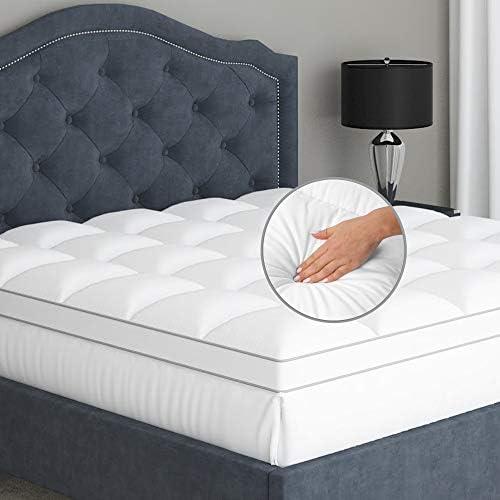 Twin Mattress Topper Pillow Top 100 Cotton Soft 2 Inch Mattress Pad for Firm Mattress 16 Inch product image