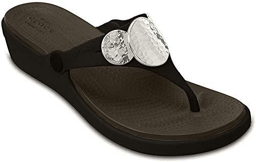 crocs Women's Sanrah Embellished Flip Wedge , Black/Silver Metallic, 6 M US