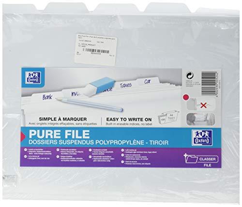 Oxford 400036622 Pure File Hängeregistratur-Mappen 5er Pack aus robustem Kunststoff weiß passend auch für die Pure Box ideal für die lose Blatt-Ablage im Büro und der Behörde