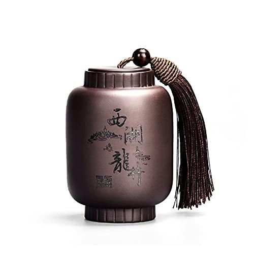 ONETOTOP Contenedor de Alimentos de Tarro de té Tradicional Chino con decoración Coffee Tea Azúcar Set Pequeñas Especias Caja de Almacenamiento para la Cocina Puede (Color : Xihulongjing)