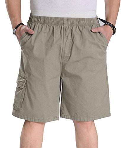 YangguTown YGT Mens Loose Cotton Cargo Shorts Overall Elastic Waist Twill Pants Khaki