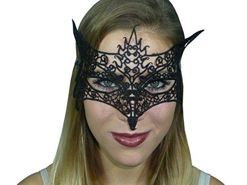 HO-Ersoka Damen Spitzenmaske Augenmaske 3 Stück Spitze Stickerei foxy Lady Maskenball Venezia schwarz