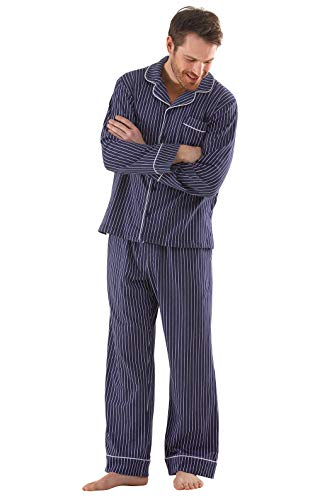 PajamaGram Classic Pajamas for Men - Cotton Mens PJs Set, Navy/White Stripe, SM