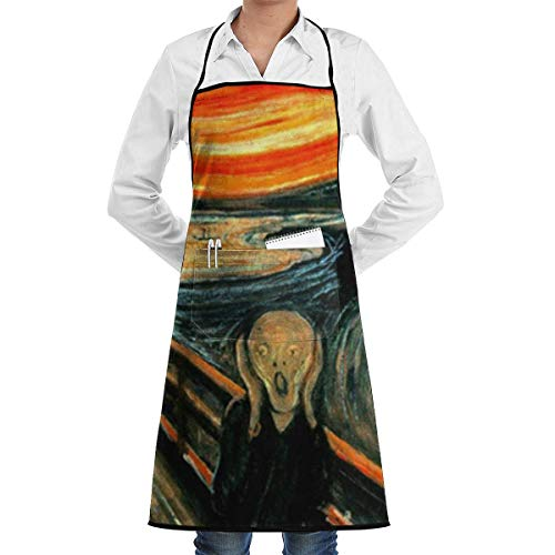 N\A Waterproof Hem Apron with Pocket 52cm 72cm, Unisex Apron War Scream Edvard Munch Painting Fine Horror Scary Expressionism