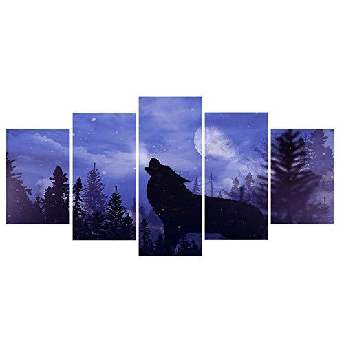 WENYOG Cuadro En Lienzo 5 Piezas Lienzo Art Wolf Roars La Luna Púrpura Night Decoration Decoration Imagen Modular HD Lienzo Impresión Pintura Sala Sin Marco