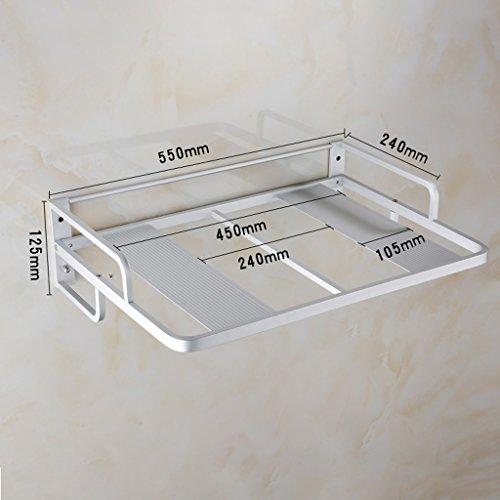 LCHEGG Küchenregal, Wand-Aluminium-Mikrowelle Racks, Küche Supplies Regale mit Haken, Ofen Racks (Size : Without Hooks)