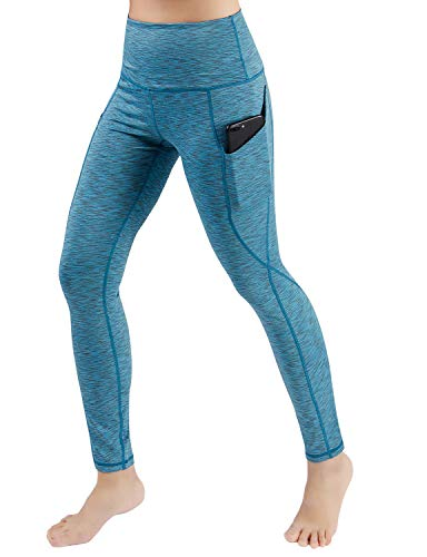 ODODOS Women's High Waist Yoga Pants with Pockets,Tummy Control,Workout Pants Running 4 Way Stretch Yoga Leggings with Pockets,SpaceDyeBlue,Small